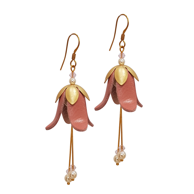 Fuchsia Leather Earrings, Gold & Silver Look