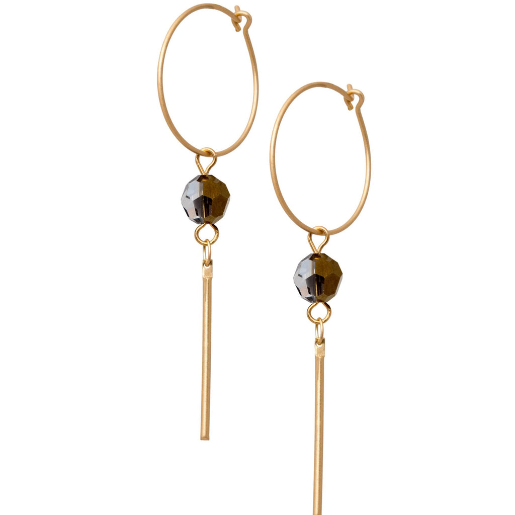 Crystal Drop Loop Earrings
