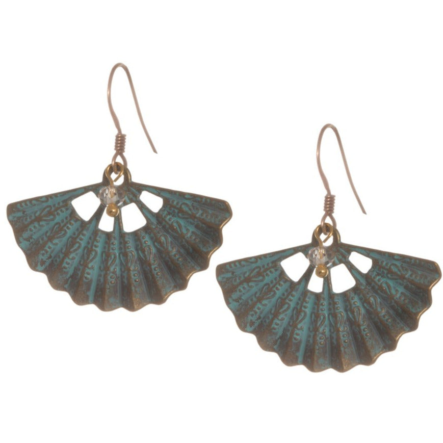 Verdigris Fan Drop Earring