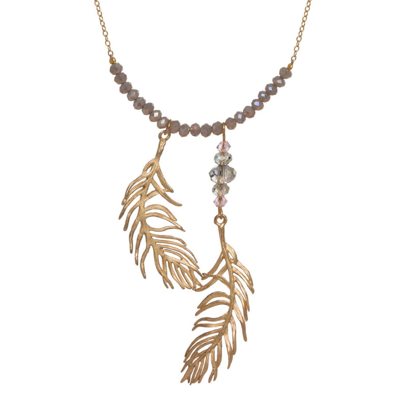 Feather 2 Drop Necklace