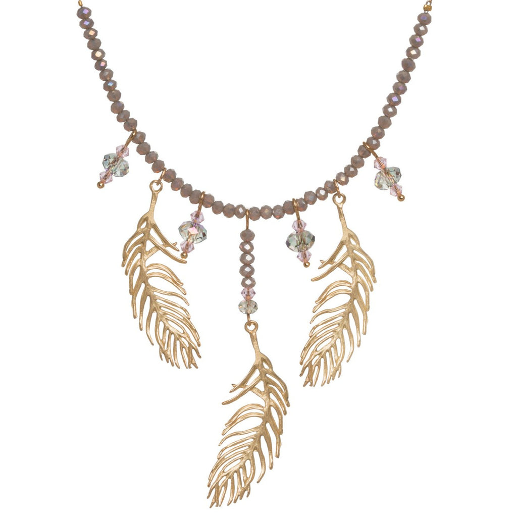 Feather 3 Drop Necklace