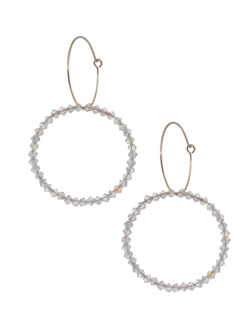 Loop and Swarovski Crystal Earrings
