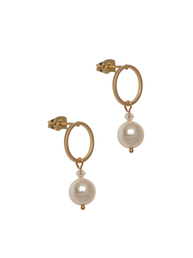 Pearl Circle Drop Studs
