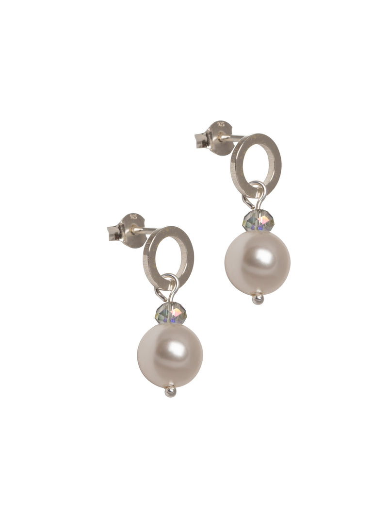 Pearl Sterling Silver Drop Studs