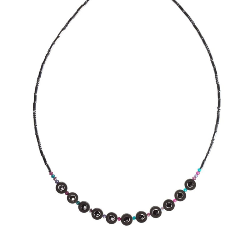 Black Swarovski Crystal and Hemitite Necklace
