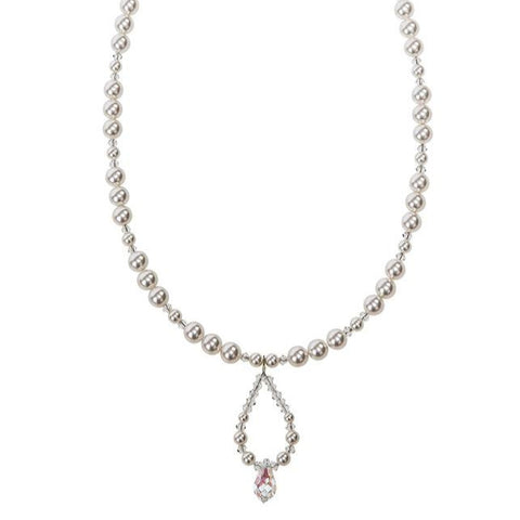 Crystal and Pearl Loop Drop Necklace