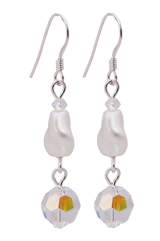 Twisted Swarovski Pearl & Crystal Earrings