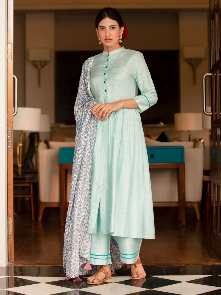 Sifar Silk Kurta Set With Modal Silk Dupatta (Set of 3)