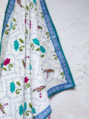 Lotus Jaal Hand Block Print Cotton Bath Towel