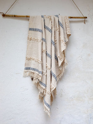 Snowfall Embellished Handwoven Throw with Tassels