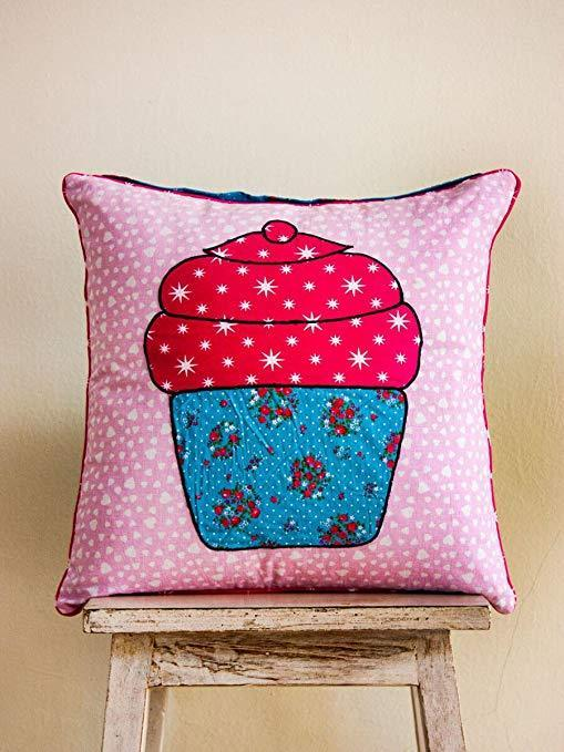 Cupcake Appliqué Cotton Cushion Cover - 16 Inch Kids Fitted Sheet