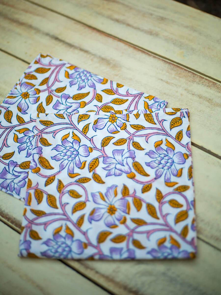 Fields of Sunflower Hand Block Print Cotton Table Napkins - Pinklay