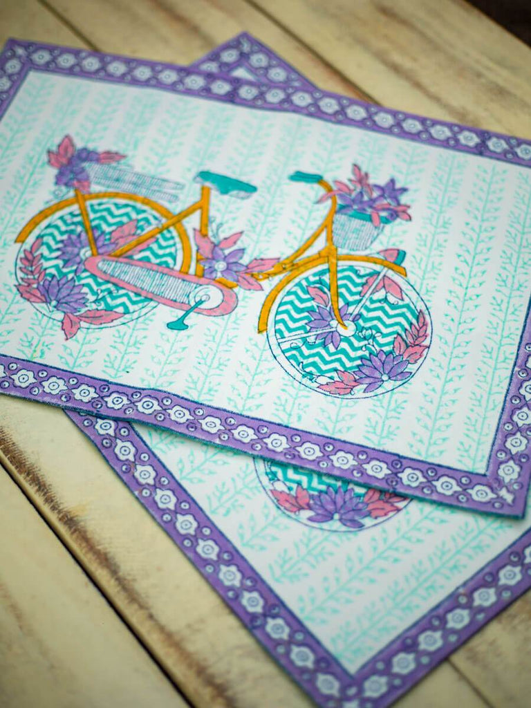 Heavenly Ride Hand Block Print Cotton Table Mats - Pinklay