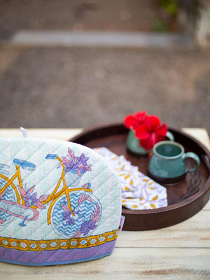 Heavenly Ride Hand Block Print Cotton Quilted Tea Cozy - Pinklay