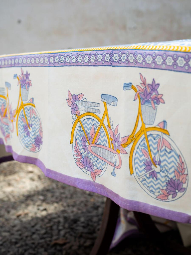 Heavenly Ride Hand Block Print Cotton Table Cover - Pinklay