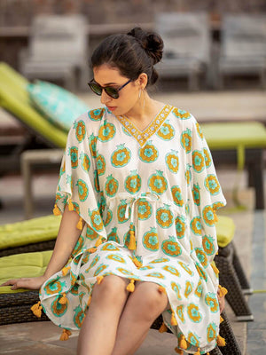 Anar Modal Silk Short Kaftan With Tassels - Pinklay