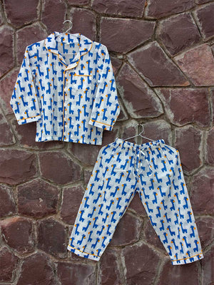 Blue Giraffe Organic Cotton Top & Pajama Set - Pinklay