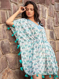 Butterfly Modal Silk Short Kaftan With Tassels - Pinklay