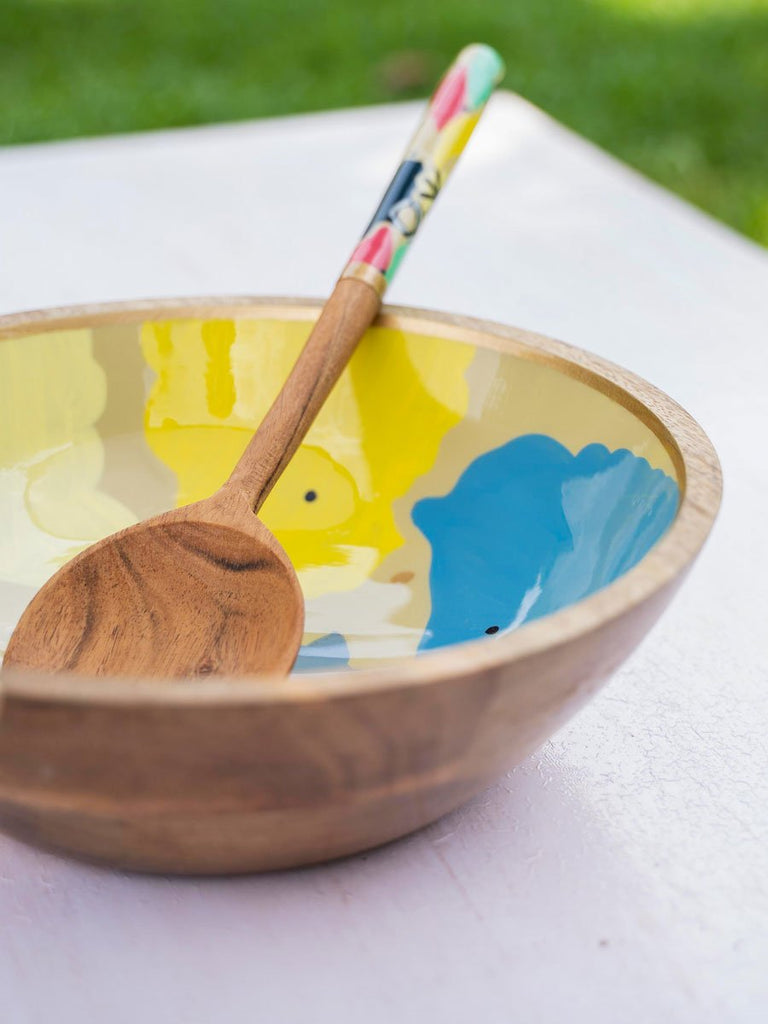 Color Riot Medium Wooden Salad Bowl With One Spoon
