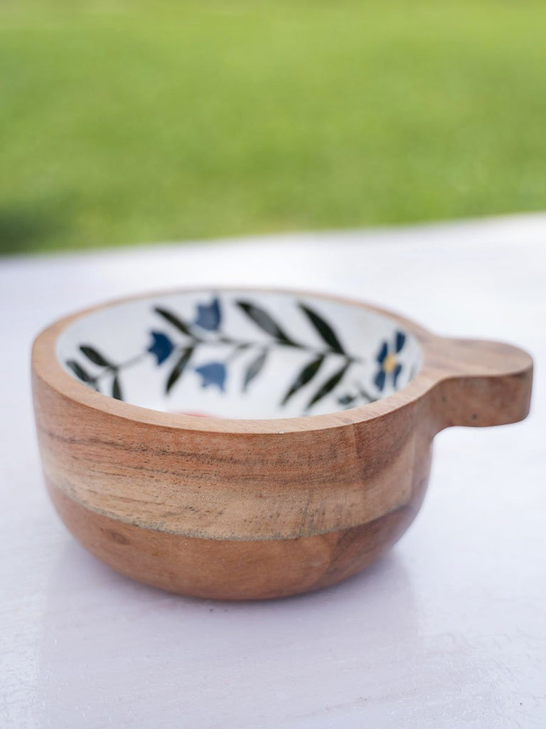 Dreamy Garden Handcarved Solid Wood Snack Bowl