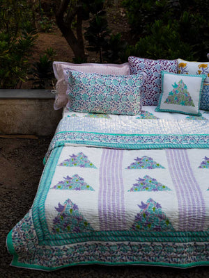 Fields of Lavender Hand Block Print Jaipuri Razai, Cotton Quilt