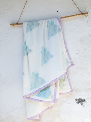 Fields of Lavender Cotton Muslin Dohar, Hand Block Print Summer Blanket - Pinklay
