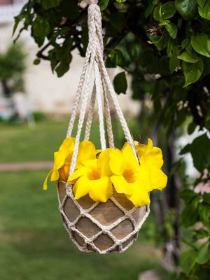 Gulbahar Wooden Hanging Planter with Knit Holder Home Decor