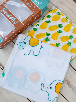 Haathi's March Organic Cotton Muslin Swaddles - Pinklay