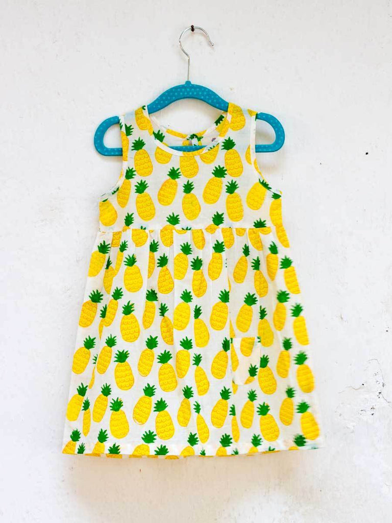 Ananaas Organic Cotton Dress with a Pocket Kids Clothing