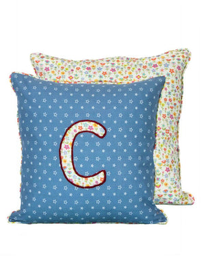 Letter C Cotton Alphabet Cushion Cover - 12 Inch Kids Alphabets Cushions
