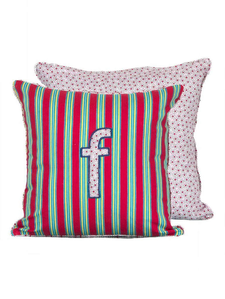 Letter F Cotton Alphabet Cushion Cover - 12 Inch Kids Alphabets Cushions