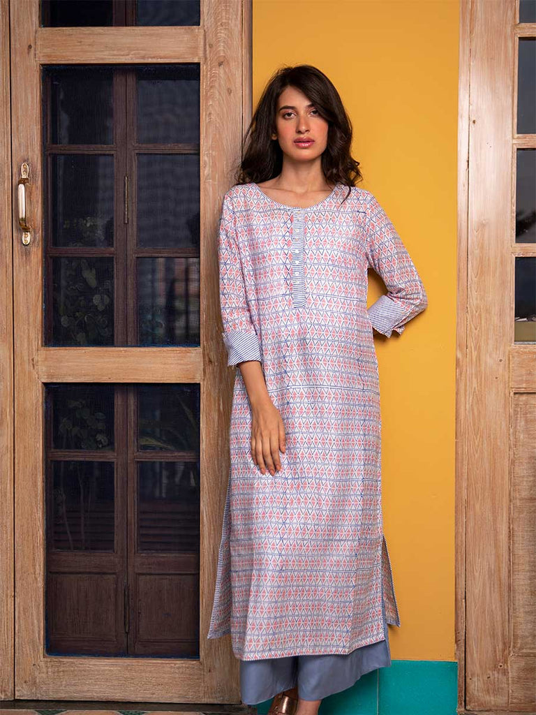 Romantic Louvre Modal Silk Kurta - Pinklay