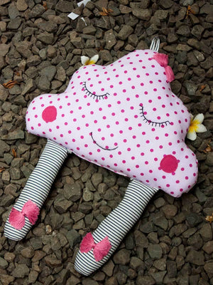 Miss Pink Polka Cloud Fabric Plush Toy Kids Gifts & Decor