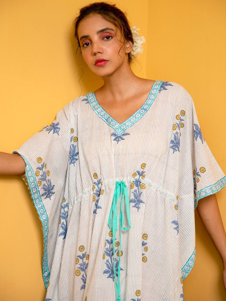 Inaayat Hand Block Printed Cotton Kaftan - Pinklay.