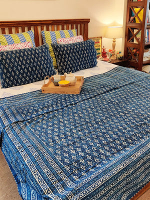 Indigo Ocean Daabu  Kantha Double Layer Bedcover with Pillows-Pinklay