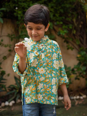 Floral Shirt Kurta with Roll Up Sleeves (Short Kurta)