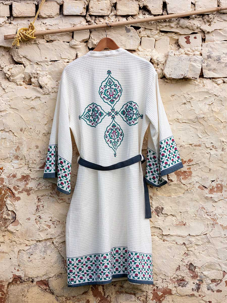 Mahtab Hand Block Print Cotton Bath Robe