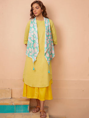 Moss Green Pintuck Long Kurta with Shrug - Pinklay