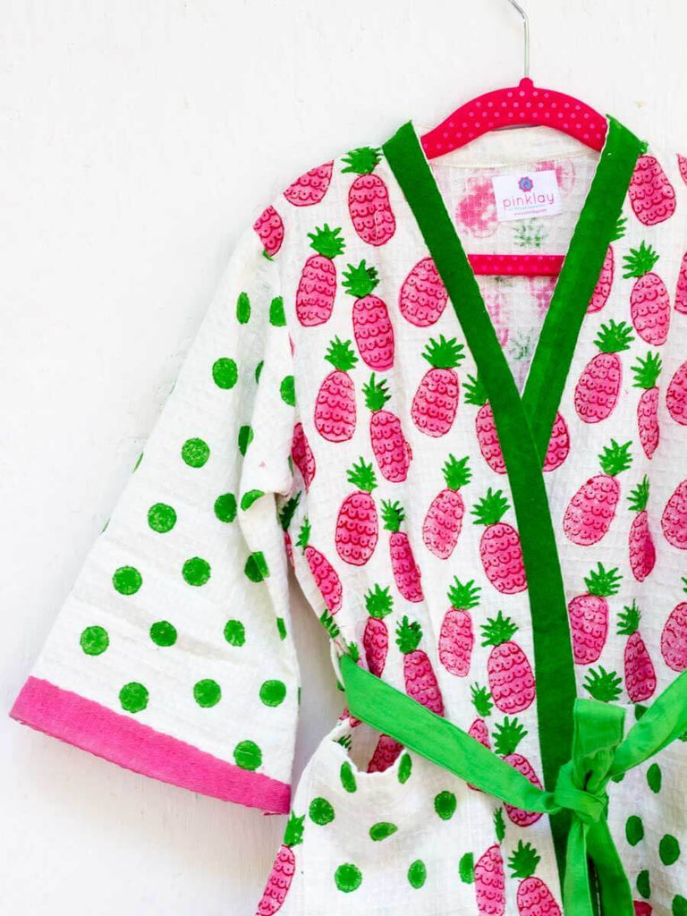 Pineapple Melody Premium Waffle Cotton Bath Robe Kids Clothing