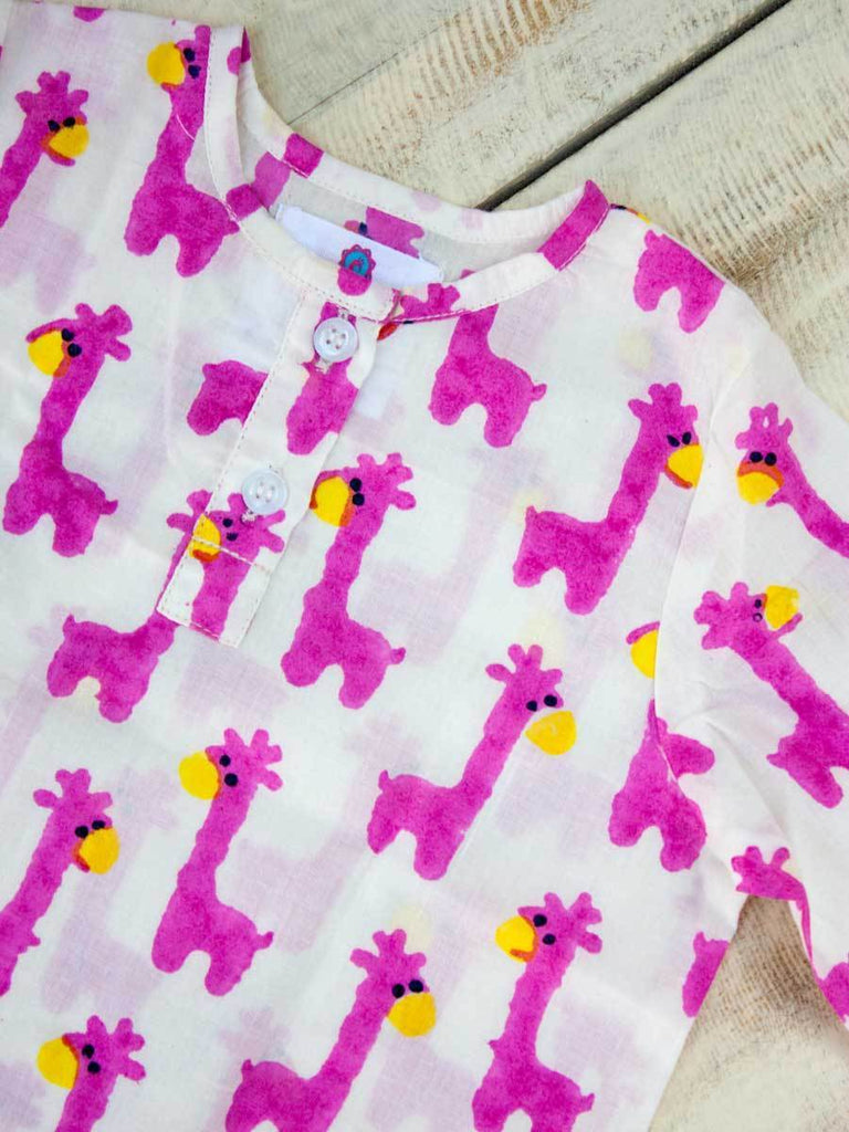 Pink Giraffe Organic Cotton Kurta Kids Clothing