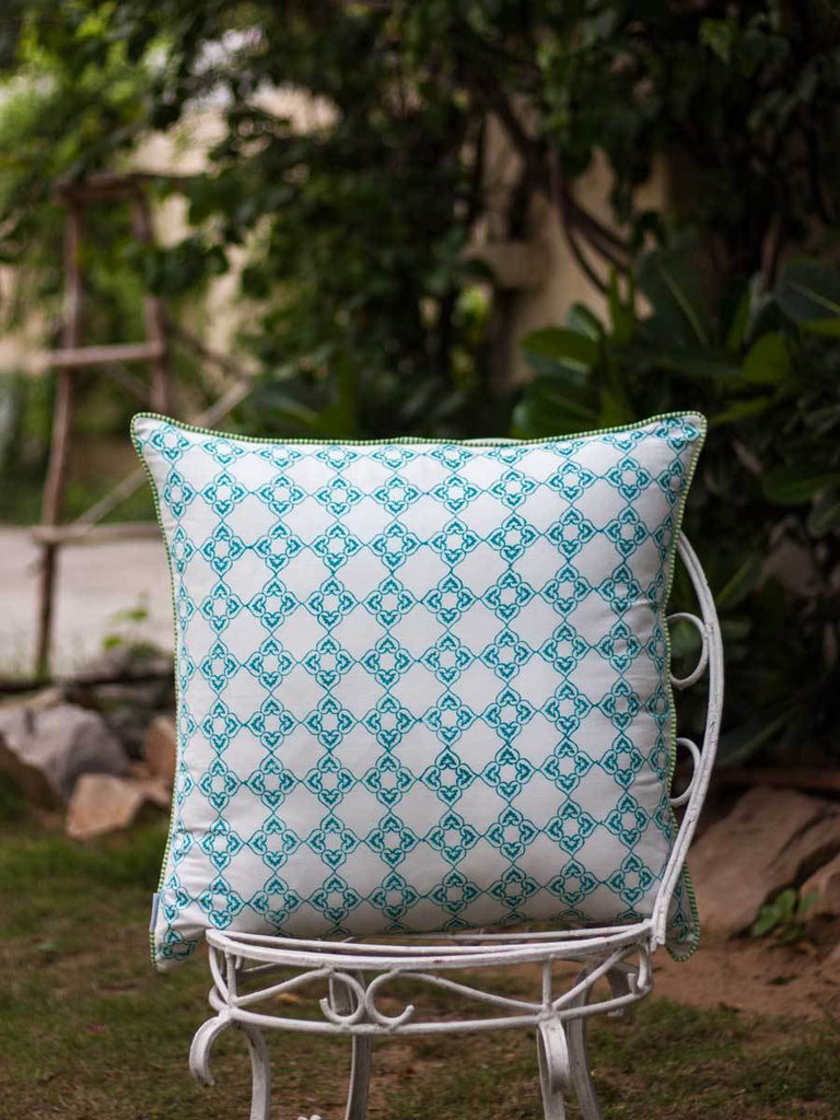 Aangan Hand Block Print Cotton Cushion Cover - 24 Inch Cushions
