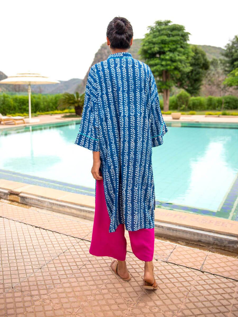 Blue Jewel Modal Silk Hand Block Printed Kimono/Robe - Pinklay