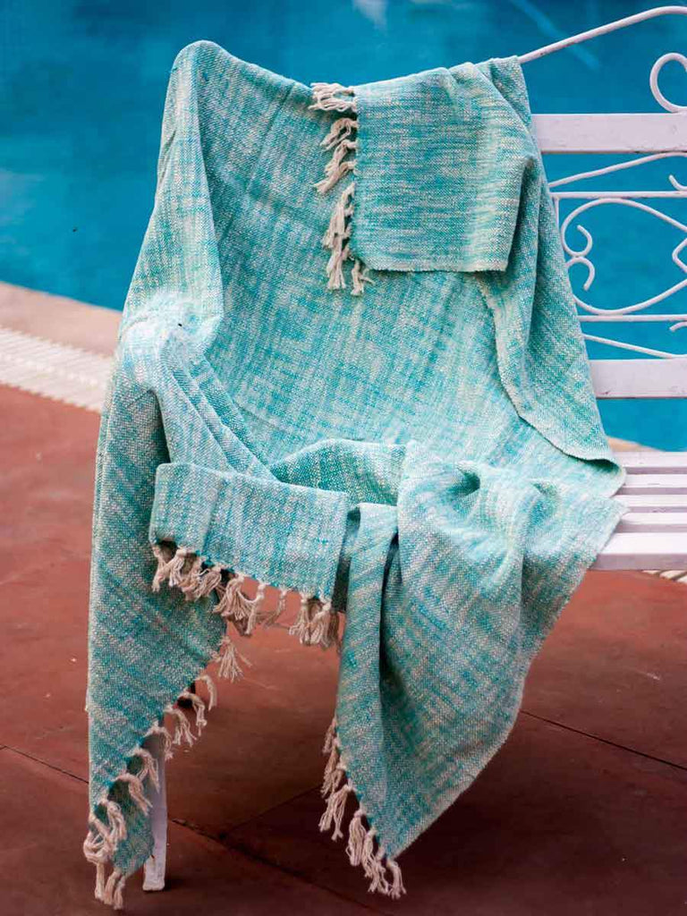 Blue Sky Handwoven Cotton Throw With Tassels Throws