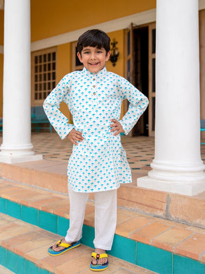 Turquoise Umbrella Organic Cotton Long Kurta - Pinklay