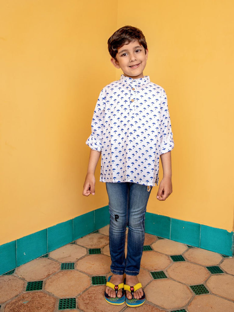 Blue Umbrella Shirt Kurta with Roll Up Sleeves - Pinklay