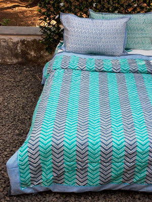 Chevrons Cotton King Size Duvet, Quilt Cover With Zip Enclosure Duvet Covers