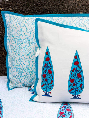 Nayaab Cypress Lotus Hand Block Print Cotton Pillow Cover - Set of 2 Pillow Covers