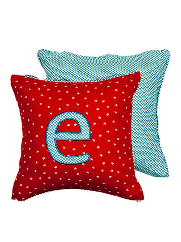 Letter E Cotton Alphabet Cushion Cover - 12 Inch Kids Alphabets Cushions