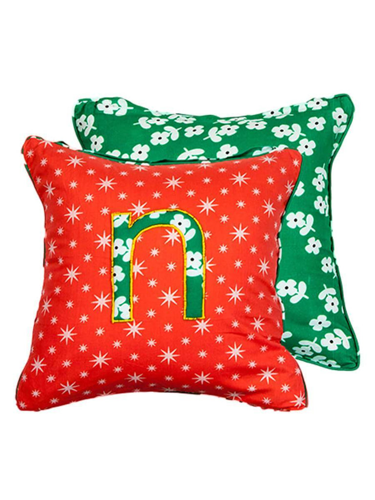 Letter N Cotton Alphabet Cushion Cover - 12 Inch Kids Alphabets Cushions