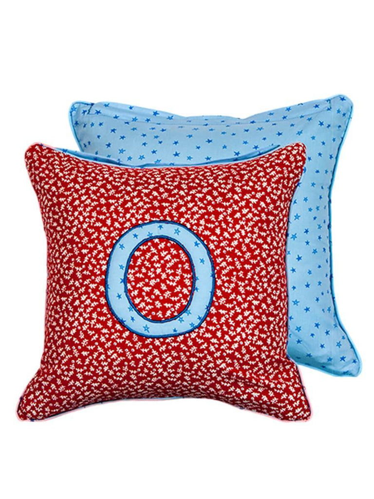 Letter O Cotton Alphabet Cushion Cover - 12 Inch Kids Alphabets Cushions